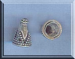 Sterling Silver Jewelry Cones with Dotted Pyramid Accent, 6mm Opening (2)