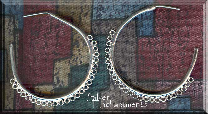 Silver Large Hoop Earring Parts w 25 Loops, PAIR 2-pc