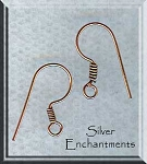 Copper Ear Wires with Coil, Solid Copper Earring Hooks (10)