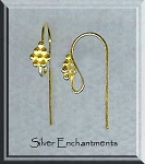 Vermeil French Earring Hooks with Fancy Cluster Top, 22k Gold over Sterling Ear Wires, 10-pair Bag