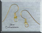 Vermeil Daisy Spacer Earring Hooks, 22k Gold over Sterling Silver Ear Wires, 5-Pairs