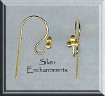 Vermeil Ear Wires with 3 Ball Top, 22k Gold over Sterling Silver, 10-pair Bag