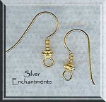Vermeil Earring Hooks with Bali Bead Accent, 22k Gold Over Sterling Silver, 5-Pairs