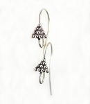 Sterling Silver Earring Hooks with Dotted Pyramid Top, 5-Pair Bag