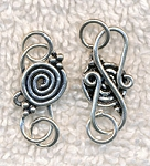 Sterling Silver Celtic Spiral S-Hook Jewelry Clasp with Rings