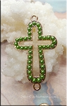 Cross Jewelry Connector with Peridot Glass Pearls, 40x24mm Gold/Green