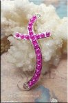 Cross Jewelry Connector with Hot Pink Glass Pearls