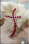 Wavy Curved Cross Jewelry Connector with Vermillion Red Glass Pearls