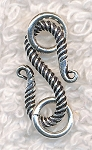 Sterling Silver Twisted S Hook with Rings, 17mm