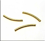Vermeil Noodle Beads, Curved Patterned Tube Beads, 21mm (2)