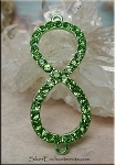 Bright Green-Peridot Infinity Jewelry Finding with Crystals 42x17mm Figure 8 Connector
