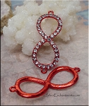 Red Infinity Jewelry Finding with Crystals 42x17mm Figure 8 Connector
