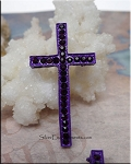 Amethyst Purple Multi-Hole Cross Jewelry Connector with Crystals 46x23mm