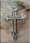 Gothic Cross Connector with Crystals, 45x28mm