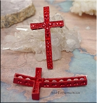 Multi-Hole Cross Jewelry Connector with Crystals, Red-Red