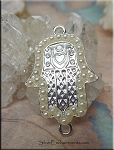 Hamsa with Glass Pearls, Hand Jewelry Connectors
