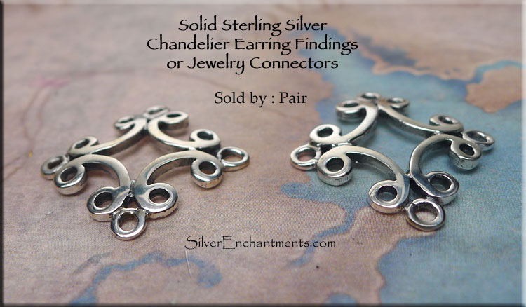 Sterling silver scroll chandelier earring findings or jewelry sterling silver scroll iron cross chandelier earring findings connectors pair aloadofball Gallery