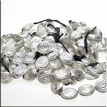 Sterling Silver Plated Fancy Swirl Oval Beads, 22x18mm Wholesale Strand (18)