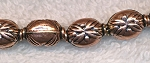 Copper Fancy Puff Oval Bead with Flower Leaf Detail, 13x9x8mm