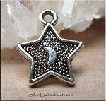 Moon in Star Charms, Silver Plated Star Charms, Bulk (10)
