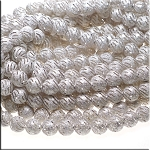 Sterling Silver Plated 12mm Stardust Beads with Swirled Slits Wholesale Strand (35)