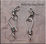 Sterling Silver J-Hook Jewelry Clasp with Wrap Detail, Set