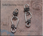 Sterling Silver J Hook Jewelry Clasp Set with Rope Detailing, 16mm