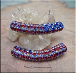 Pave Crystal Large Hole Bead, American Flag Motif Big Hole Bead
