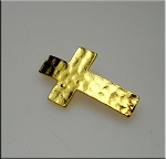 Gold Plated Hammered Cross Connector with 3 Loops in Back