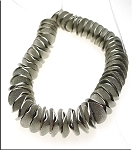 Antique Silver Plated Potato Chip Spacer Beads, Bent Disc Beads, 12mm, Strand