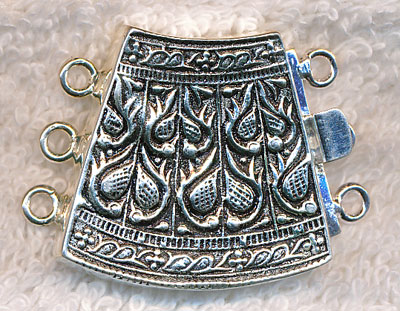 3 Strand Ornate Box Clasps Curved Sterling Silver Plated