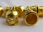 22-karat Gold Plated Copper Fancy Scroll Pattern Jewelry Cap with 9.5mm Opening