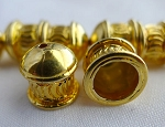 22-karat Gold Plated Copper Fancy Crimp Pattern Jewelry End Cap, 7mm Opening