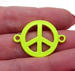 Enameled Bright Yellow Peace Sign Connector 32x23mm Jewelry Link Finding