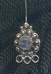 Sterling Silver and Moonstone Designer Head Pin