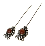 Goldstone Headpins, Sterling Silver and Goldstone Jewelry Headpins, Gemstone Head Pins (2)