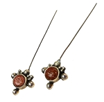 Goldstone Headpins, Sterling Silver and Goldstone Jewelry Headpins, Fancy Gemstone Head Pins (2)