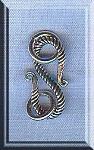 Sterling Silver Twist S-Hook Clasp with Rings, 17mm