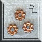 Copper 6mm Daisy Spacer Beads, 10pc
