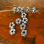 6.5mm Sterling Silver Blossom Spacers, 3x6.5mm Rondelle Beads (1)