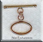 Solid Copper Oval Toggle Clasp, Real Copper Jewlery Findings (1)