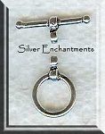 Sterling Silver Simple Round Toggle Clasp with Wrap Detail 10mm
