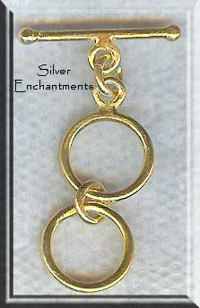 Vermeil 2 Ring Expandable Toggle Clasp