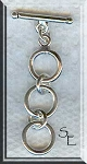 Sterling Silver 3-Ring Toggle Clasp, Precious Metal Expandable Expansion Toggle Clasps (1)