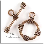 Solid Copper Round Nautical Toggle Clasp, Real Copper Findings (1)