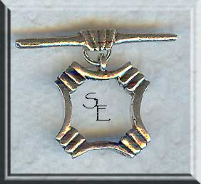 Sterling Silver Fancy Square Toggle Clasp