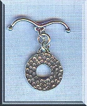Sterling Silver Round Toggle Clasp with Bent Bar, Hammered