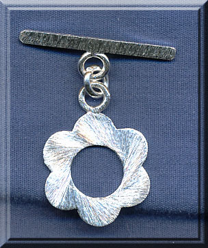 Sterling Silver Flower Toggle Clasp with Brushed Finish