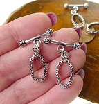 Silver Toggle Clasps, Sterling Silver Ornate Oval Toggle Clasp, Double Sided Fancy Clasp (1)