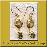 Citrine and Brown Topaz Gemstone Earrings, Gold Vermeil
